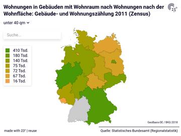 Wohnungen in Gebäuden mit Wohnraum nach Wohnungen nach der Wohnfläche: Gebäude- und Wohnungszählung 2011 (Zensus)