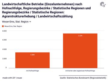 Landwirtschaftliche Betriebe (Einzelunternehmen) nach Hofnachfolge, Regierungsbezirke / Statistische Regionen und Regierungsbezirke / Statistische Regionen: Agrarstrukturerhebung / Landwirtschaftszählung