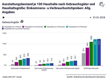 Ausstattungsbestand je 100 Haushalte nach Gebrauchsgüter und Haushaltsgröße: Einkommens- u.Verbrauchsstichproben: Allg. Angaben