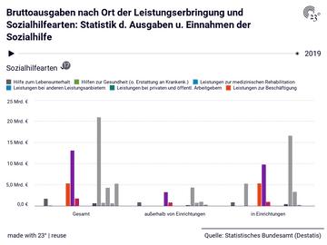 Bruttoausgaben nach Ort der Leistungserbringung und Sozialhilfearten: Statistik d. Ausgaben u. Einnahmen der Sozialhilfe