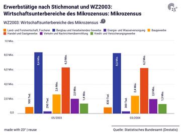 Erwerbstätige nach Stichmonat und WZ2003: Wirtschaftsunterbereiche des Mikrozensus: Mikrozensus