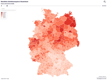 Monatliche Arbeitslosenquote in Deutschland