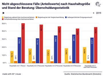 Nicht abgeschlossene Fälle (Anteilswerte) nach Haushaltsgröße und Stand der Beratung: Überschuldungsstatistik