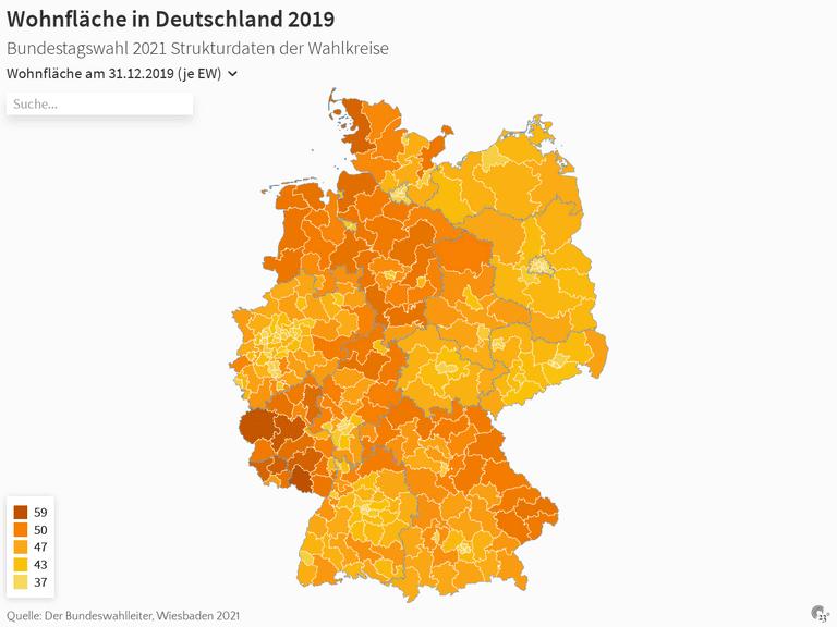 Wohnfläche in Deutschland 2019