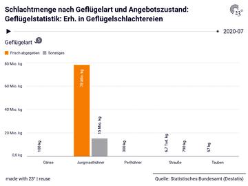 Schlachtmenge nach Geflügelart und Angebotszustand: Geflügelstatistik: Erh. in Geflügelschlachtereien
