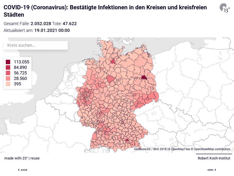 COVID-19 (Coronavirus) Deutschland: Gesamt Fälle und Fälle pro 100.000 Einwohner in den Kreisen und kreisfreien Städten