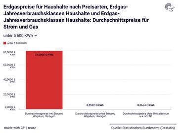 Erdgaspreise für Haushalte nach Preisarten, Erdgas-Jahresverbrauchsklassen Haushalte und Erdgas-Jahresverbrauchsklassen Haushalte: Durchschnittspreise für Strom und Gas