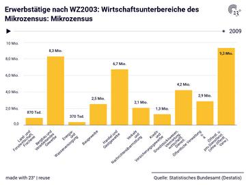 Erwerbstätige nach WZ2003: Wirtschaftsunterbereiche des Mikrozensus: Mikrozensus