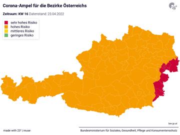 Corona-Ampel für die Bezirke Österreichs