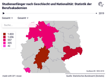 Studienanfänger nach Geschlecht und Nationalität: Statistik der Berufsakademien