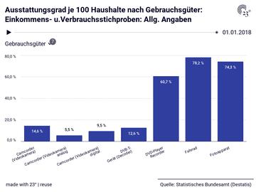 Ausstattungsgrad je 100 Haushalte nach Gebrauchsgüter: Einkommens- u.Verbrauchsstichproben: Allg. Angaben