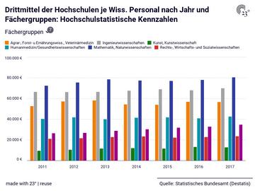 Drittmittel der Hochschulen je Wiss. Personal nach Jahr und Fächergruppen: Hochschulstatistische Kennzahlen