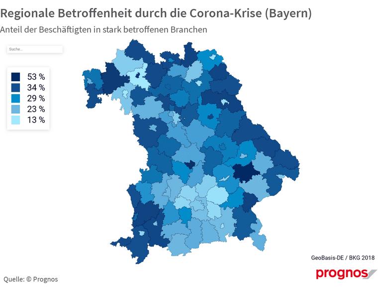 Regionale Betroffenheit durch die Corona-Krise (Bayern)