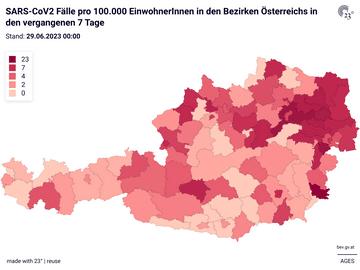 SARS-CoV2 Fälle pro 100.000 EinwohnerInnen in den Bezirken Österreichs in den vergangenen 7 Tage