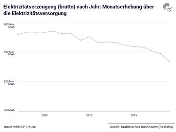 Elektrizitätserzeugung (brutto) nach Jahr: Monatserhebung über die Elektrizitätsversorgung