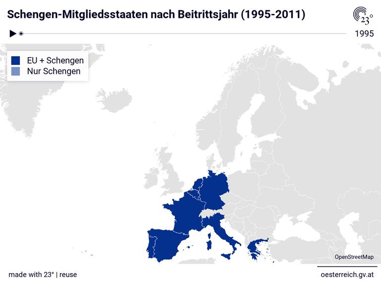 Schengen-Mitgliedsstaaten nach Beitrittsjahr (1995-2011)
