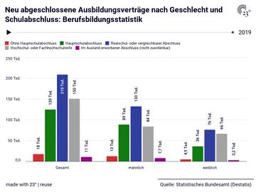 Neu abgeschlossene Ausbildungsverträge nach Geschlecht und Schulabschluss: Berufsbildungsstatistik