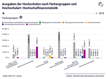 Ausgaben der Hochschulen nach Fächergruppen und Hochschulart: Hochschulfinanzstatistik