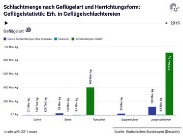 Schlachtmenge nach Geflügelart und Herrichtungsform: Geflügelstatistik: Erh. in Geflügelschlachtereien