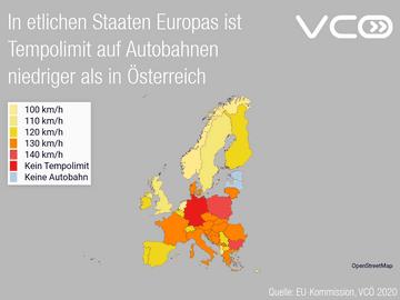 In etlichen Staaten Europas ist Tempolimit auf Autobahnen niedriger als in Österreich