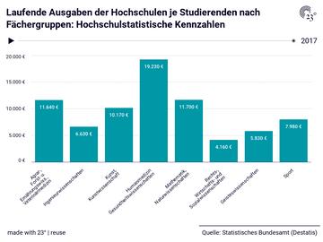 Laufende Ausgaben der Hochschulen je Studierenden nach Fächergruppen: Hochschulstatistische Kennzahlen