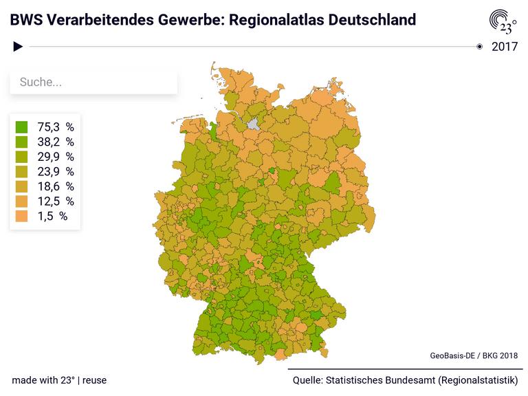 BWS Verarbeitendes Gewerbe: Regionalatlas Deutschland