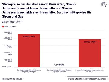 Strompreise für Haushalte nach Preisarten, Strom-Jahresverbrauchsklassen Haushalte und Strom-Jahresverbrauchsklassen Haushalte: Durchschnittspreise für Strom und Gas