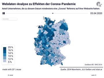 Immer mehr Unternehmen von der Corona-Pandemie betroffen Webdaten-Analyse zu Effekten der Corona-Pandemie