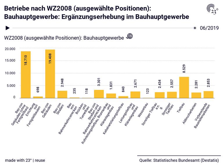 Betriebe nach WZ2008 (ausgewählte Positionen): Bauhauptgewerbe: Ergänzungserhebung im Bauhauptgewerbe