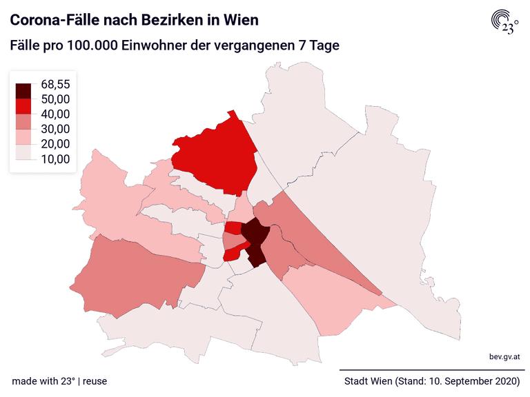 Corona-Fälle nach Bezirken in Wien