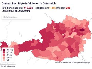 Corona: Bestätigte Infektionen in Österreich