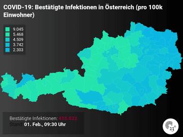 COVID-19: Bestätigte Infektionen in Österreich (pro 100k Einwohner)