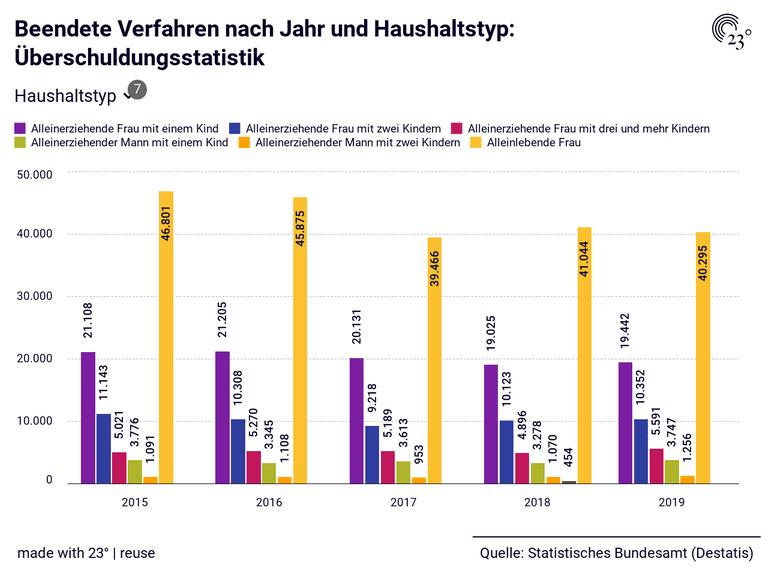 Beendete Verfahren nach Jahr und Haushaltstyp: Überschuldungsstatistik