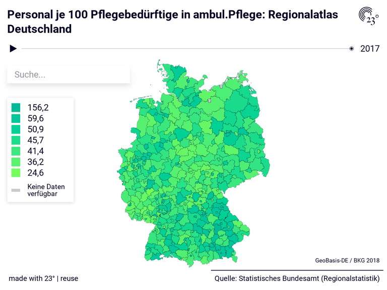 Personal je 100 Pflegebedürftige in ambul.Pflege: Regionalatlas Deutschland