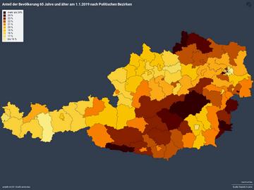 Anteil der Bevölkerung 65 Jahre und älter am 1.1.2019 nach Politischen Bezirken