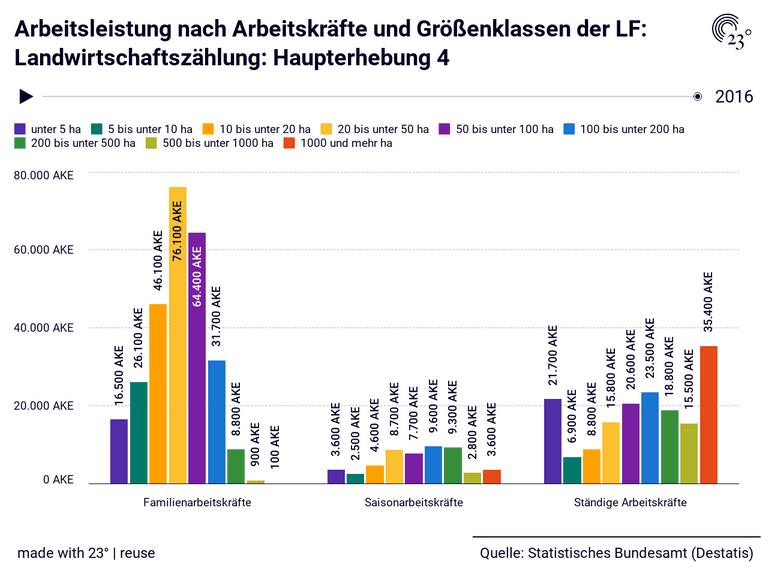 Arbeitsleistung nach Arbeitskräfte und Größenklassen der LF: Landwirtschaftszählung: Haupterhebung 4