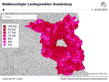 Wahlberechtigte: Landtagswahlen: Brandenburg