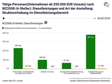 Tätige Personen(Unternehmen ab 250.000 EUR Umsatz) nach WZ2008 (4-Steller): Dienstleistungen und Art der Anstellung: Strukturerhebung im Dienstleistungsbereich