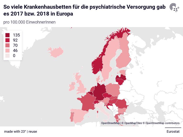 So viele Krankenhausbetten für die psychiatrische Versorgung gab es 2017 bzw. 2018 in Europa