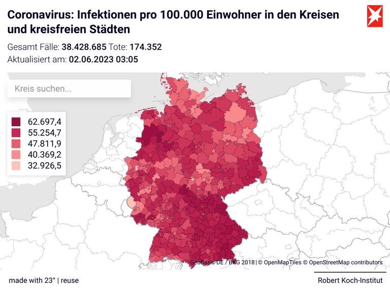 Coronavirus: Infektionen pro 100.000 Einwohner  in den Kreisen und kreisfreien Städten