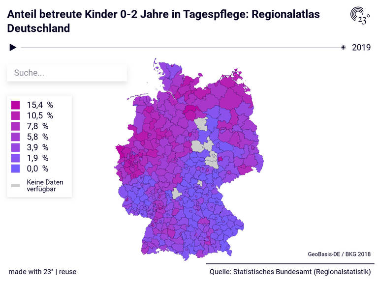 Anteil betreute Kinder 0-2 Jahre in Tagespflege: Regionalatlas Deutschland