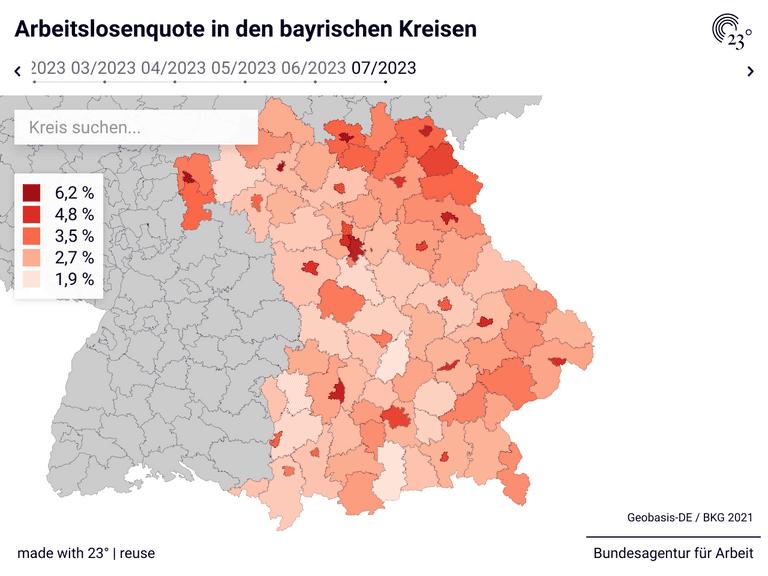 Arbeitslosenquote in den bayrischen Kreisen