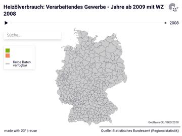 Heizölverbrauch: Verarbeitendes Gewerbe - Jahre ab 2009 mit WZ 2008