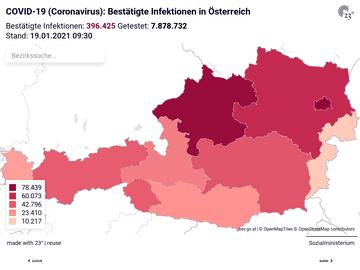 Covid19 (Coronavirus ) Österreich: Bestätigte Fälle, aktuell Infizierte, Genesene und Tote nach Bundesländern
