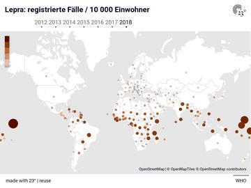 Lepra: registrierte Fälle / 10 000 Einwohner