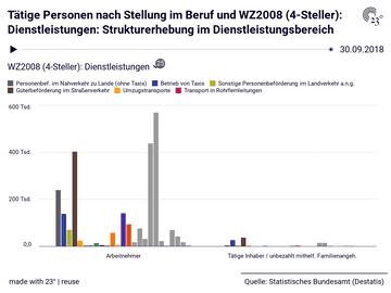Tätige Personen nach Stellung im Beruf und WZ2008 (4-Steller): Dienstleistungen: Strukturerhebung im Dienstleistungsbereich
