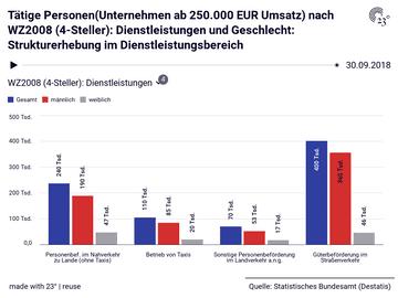 Tätige Personen(Unternehmen ab 250.000 EUR Umsatz) nach WZ2008 (4-Steller): Dienstleistungen und Geschlecht: Strukturerhebung im Dienstleistungsbereich