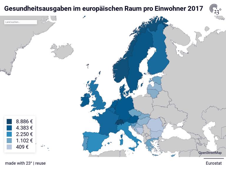 Gesundheitsausgaben im europäischen Raum pro Einwohner 2017