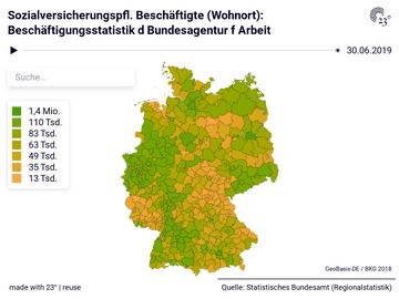 Sozialversicherungspfl. Beschäftigte (Wohnort): Beschäftigungsstatistik d Bundesagentur f Arbeit