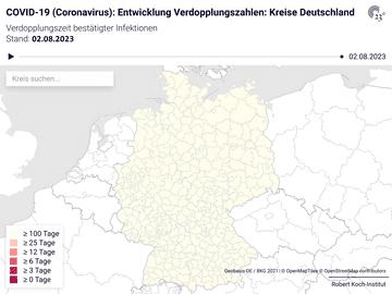 COVID-19 (Coronavirus): Entwicklung Verdopplungszahlen: Kreise Deutschland